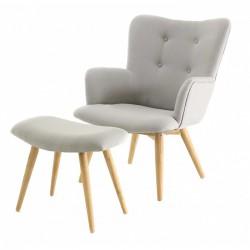 كرسي خمر النسيج ومسند رمادي كوسيفورم