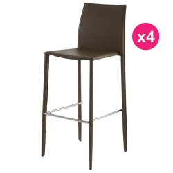 Lot de 4 Chaises de Bar Simili-Cuir Sable KosyForm