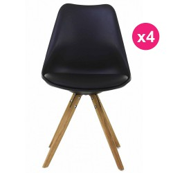 Set of 4 chairs black base oak KosyForm