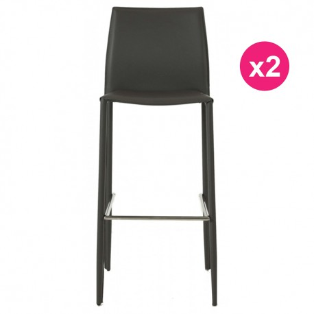 Lot de 2 Chaises de Bar Simili-Cuir Gris KosyForm