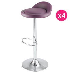 Lot de 4 Tabourets de Bar Violet KosyForm