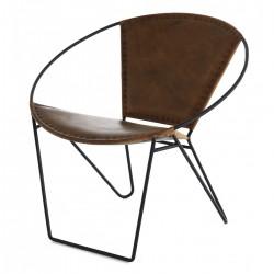 革と茶色の金属 KosyForm 蝶椅子