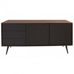 Шведский стол, плита орех и лакированный серый 2 двери 3 ящиками Isa KosyForm