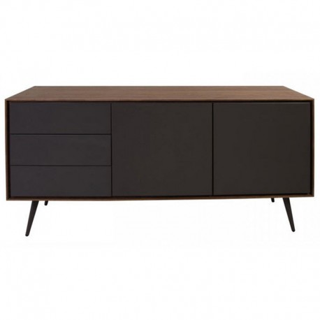 Buffet plate walnut and lacquered grey 2 doors 3 drawers Isa KosyForm