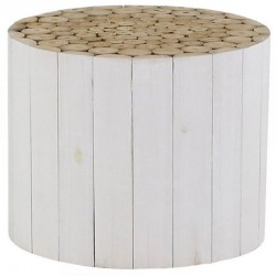 Low round stained teak table white cottage KosyForm
