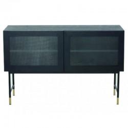 突き板オーク黒ガラスの扉と黒の足 Tozzini KosyForm 金属家具の低