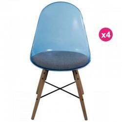 Juego de 4 sillas policarbonato azul transparente y plexiglás KosyForm amortiguador
