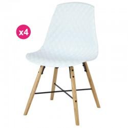 一套4把椅子聚丙烯白色橡木复仇 KosyForm 基地