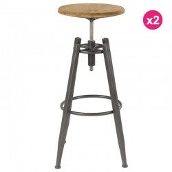 Lot de 2 Tabourets de Bar Assise en Pin Massif et Pieds Métal Soon KosyForm