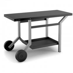 Table Roulante Acier Noir et Gris Clair pour Planchas Forge Adour