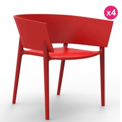 Lot de 4 Chaises Vondom Design Africa Rouge