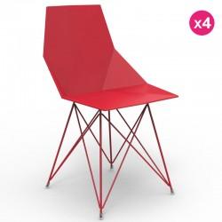 Набор из 4 стульев ваза Vondom ноги нержавеющей стали красный без подлокотники