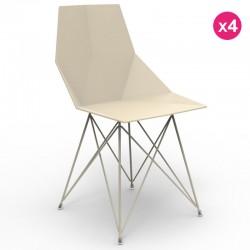 Комплект из 4 стульев ВАЗ Vondom из нержавеющей стали ноги Ecru без подлокотников