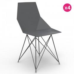 Conjunto de 4 cadeiras FAZ Vondom pernas de aço inoxidável preto sem braços