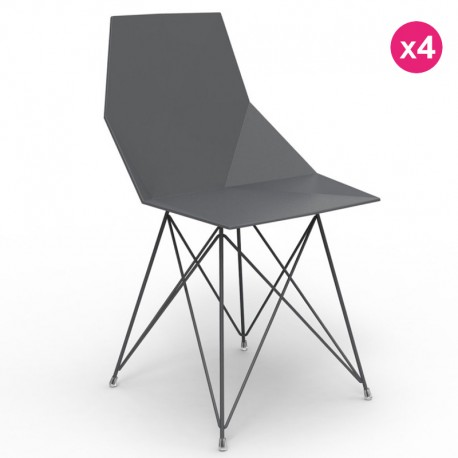 Set of 4 chairs FAZ Vondom stainless steel legs black without armrests