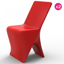 Lot de 2 Chaises Vondom Design Sloo Rouge