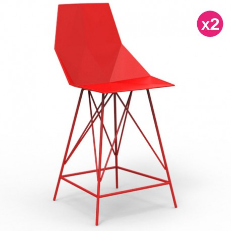 Set of 2 high stools FAZ Vondom red and metal with armrests