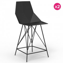 2-Pack black and metal FAZ Vondom high stools with armrests