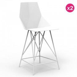 Набор из 2 высоких стульев ВС ЗВодом белый и металл с подлокотниками