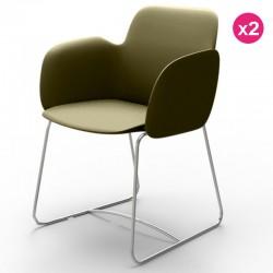 Pack von 2 Stühlen Vondom Pezzettina Khaki Matt und Metall