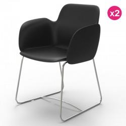Pack of 2 chairs Vondom Pezzettina black Matt and metal