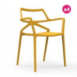 Set of 4 chairs Delta Vondom yellow