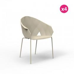Set of 4 chairs Vondom vases Ecru
