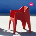 Set of 4 chairs voxel Vondom Red