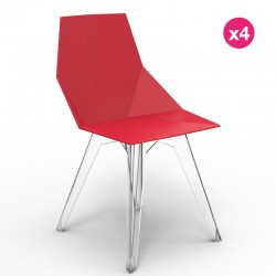 Lot de 4 Chaises FAZ Vondom Rouge