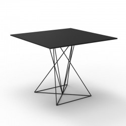 Table Faz Vondom Noir Piètement Inox 80x80xH72
