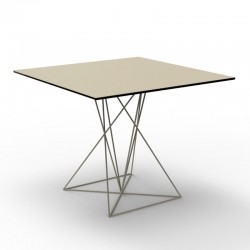 Table Faz Vondom Ecru Piètement Inox 80x80xH72