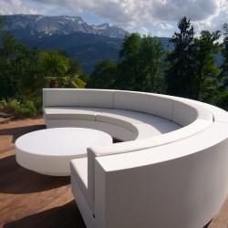 Ensemble Sofa Curve Vela Vondom Blanc Silvertex avec Table Basse