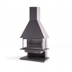 Gesicht FocGrup Stahl Schornstein mit Glastür und feuerfesten Ziegel