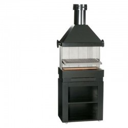 BarBecue Ferlux on Refractory Brick And Steel Rolling Furniture with Hotte