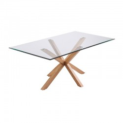Vidro de mesa de jantar e madeira retangular 180 Doli KosyForm