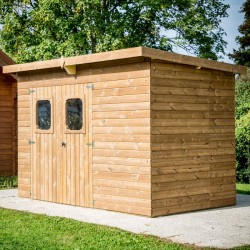 Thermabri Garden Shelter in Habrita Solid Wood 19.69 m2 with Steel Roof