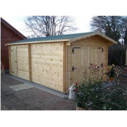 Garage en bois massif Habrita 21,7m2 avec madriers 42mm