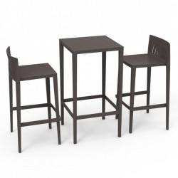 Ensemble Spritz table et 2 tabourets Vondom hauteur d'assise 76cm bronze