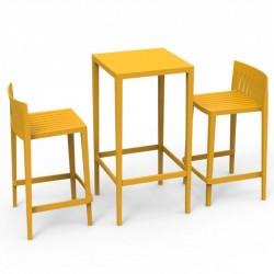 Ensemble Spritz table et 2 tabourets Vondom hauteur d'assise 66cm jaune