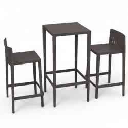 Set Spritz table and 2 stools Vondom seat height 66cm bronze