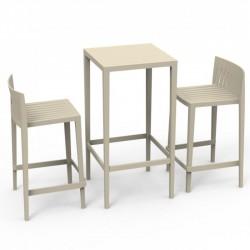 Ensemble Spritz table et 2 tabourets Vondom hauteur d'assise 66cm écru