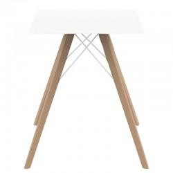 Table à manger Vondom Faz Wood plateau carré blanc et pieds chêne naturel