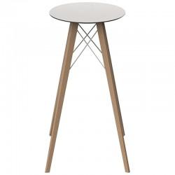 Table Haute Vondom Faz Wood Plateau Rond Hpl Blanc et Bord Noir avec Pieds Chêne Naturel Diamètre 60 x H105cm