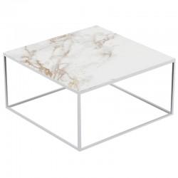 Table basse carrée Suave Vondom Dekton Entzo blanc et pieds blancs 80x80xH40