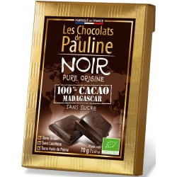 Les 5 Tablettes de chocolat NOIR 100 pour cent cacao de MADAGASCAR- 350 g (5 x 70 g)